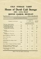 Cold Storage Tariff House of David Cold Storage 360 - 12th. Street, Benton Harbor, Michigan