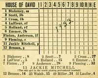 House of David baseball scorecard
