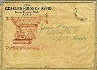 Envelope from the Israelite House of David featuring quotes from the Bible printed on the back