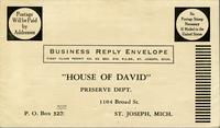 Envelope for  House of David Preserve Dept.