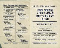 Eden Springs Vegetarian Restaurant menu [front]