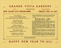 Souvenir programme New Year's Eve, 1937 Grande Vista Gardens [back]