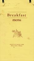Breakfast menu House of David Park, Benton Harbor, Michigan