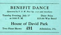 Benefit Dance sponsored by V.F.W Post No. 1137 and auxillary, House of David Park