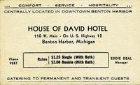 House of David Hotel 110 W. Main - On U.S. Highway 12, Benton Harbor, Michigan [front]