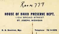 House of David Preserve Dept., 1104 Broad Street, St. Joseph, Michigan