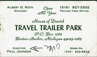 Travel Trailer Park P.O. Box 1067, Benton Harbor, Michigan 49023-1067