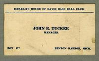 Israelite House of David Base Ball Club, John R. Tucker Manager [front]