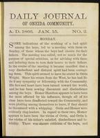 Daily journal of Oneida Community, [vol. 01], no. 002 (January 15, 1866)