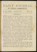 Daily journal of Oneida Community, [vol. 01], no. 005 (January 18, 1866)