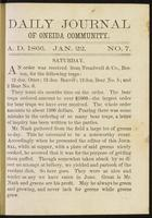 Daily journal of Oneida Community, [vol. 01], no. 007 (January 22, 1866)