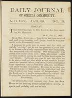 Daily journal of Oneida Community, [vol. 01], no. 013 (January 29, 1866)