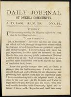 Daily journal of Oneida Community, [vol. 01], no. 014 (January 30, 1866)