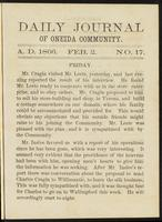Daily journal of Oneida Community, [vol. 01], no. 017 (February 2, 1866)