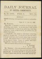 Daily journal of Oneida Community, [vol. 01], no. 019 (February 5, 1866)