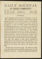 Daily journal of Oneida Community, [vol. 01], no. 020 (February 6, 1866)