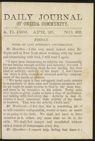 Daily journal of Oneida Community, [vol. 01], no. 082 (April 20, 1866)