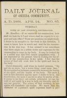 Daily journal of Oneida Community, [vol. 01], no. 085 (April 24, 1866)