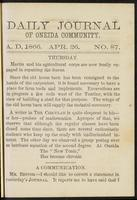 Daily journal of Oneida Community, [vol. 01], no. 087 (April 26, 1866)