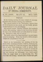 Daily journal of Oneida Community, [vol. 01], no. 100 (May 11, 1866)
