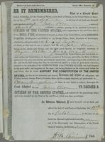 Certificate bestowing United States Citizenship to John Olson