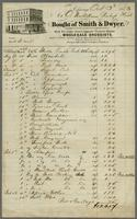 Chicago, Oct 3d 1863 Mr. O. Nordstrom Bishop Hill bought of Smith & Dwyer. Wholesale druggists