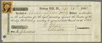 Receipt for money paid from Christine Olson to the Trustees of the Bishop Hill Colony