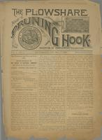 Plowshare and pruning hook: indicator of commercial equation, vol. 01, no. 01 (May 1, 1891)