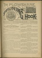 Plowshare and pruning hook: indicator of commercial equation, vol. 01, no. 09 (July 18, 1891)