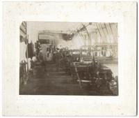 Interior of weaving building at the Amana Woolen Mill