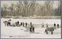 Men cutting ice near Homestead about 1913 [front]