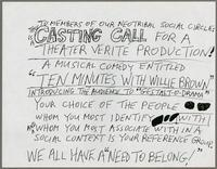 Casting call for a theater verite production