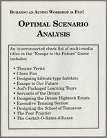 Building an acting workshop is fun!, optimal scenario analysis