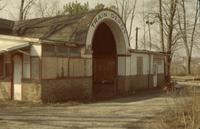 Boarded up train depot [slide]