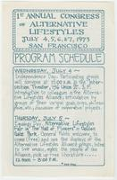 1st annual congress of alternative lifestyles, program schedule
