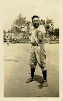 House of David baseball catcher Flip Fleming posing on the baseball diamond