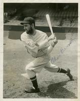 Allen Benson in Washington Senators uniform posed while batting