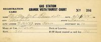 Registration card gas station Grande Vista Tourist Court