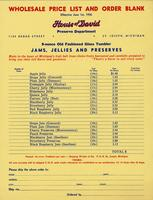 Wholesale price list and order blank Effective June 1st, 1956 House of David Preserve Department