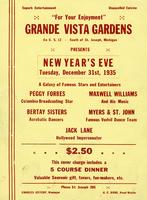 For your enjoyment Grande Vista Gardens on U.S. 12 south of, St. Joseph, Michigan presents New Year's Eve Tuesday, December 31st, 1935