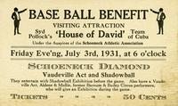Base ball benefit visiting attraction Syd Pollock's 'House of David' Team of Cuba