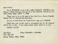 Notice of winning a weekly talent show hosted at the House of David Park