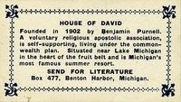 Brief information card about the House of David