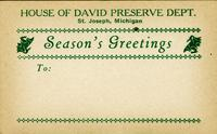 Season's greetings label from the House of David Preserve Dept.