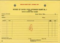 Duplicate delivery ticket - customer's copy House of David Cold Storage Plant No. 1 on the, Benton Harbor, Fruit Market