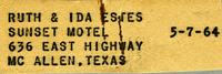 Ruth & Ida Estes Sunset Motel 636 East Highway McAllen, Texas