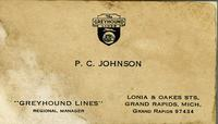 Greyhound Lines, P.C. Johnson, regional manager