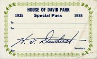 House of David Special Pass 1935